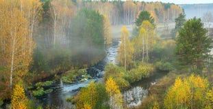 Mañana de niebla del otoño en el río del bosque, Rusia, Ural Fotografía de archivo