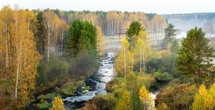 Mañana de niebla del otoño en el río del bosque, Rusia, Ural Imagen de archivo