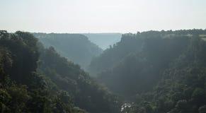 Mañana de niebla en el valle verde de la caída de Tincha cerca de la Indore-India fotografía de archivo libre de regalías