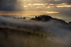 Mañana de niebla en las colinas de Toscana cerca de San Gimignano, Toscana, Italia Fotografía de archivo