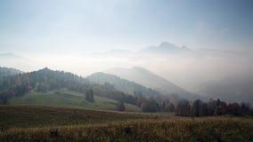 mañana de niebla hermosa - niebla mística de la salida del sol en montañas - timelapse de la naturaleza asombrosa - hd completo 1