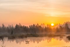 Mañana de niebla sobre el lago Imagen de archivo