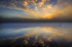 Mañana de niebla y nublada del lago del cisne imagenes de archivo