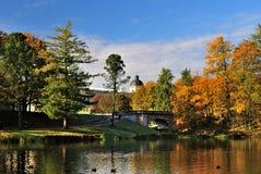 Mañana de oro del otoño en Gatchina, St Petersburg Foto de archivo libre de regalías