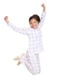 Mañana de salto de la mujer fresca en pijamas Fotos de archivo libres de regalías