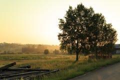 Mañana del comienzo del verano en el pueblo Visim Región de Ural, Rusia Fotos de archivo libres de regalías