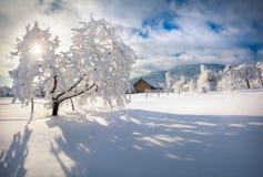 Mañana del invierno en el pueblo cárpato Foto de archivo