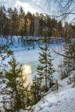 Mañana del invierno en el río siberiano Imagen de archivo