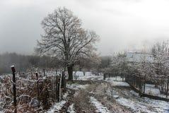 Mañana del invierno en pueblo de montaña imagen de archivo libre de regalías