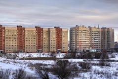 Mañana del paisaje urbano del invierno Foto de archivo libre de regalías