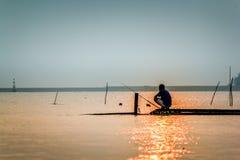 Mañana del pescador de la vida Fotografía de archivo libre de regalías