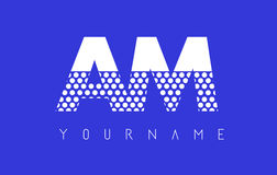 mañana Dotted Letter Logo Design con el fondo azul Fotos de archivo