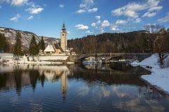 Mañana en el lago Bohnij Foto de archivo libre de regalías
