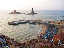 Mañana en el punto más situado más al sur de la India Kanyakumari Foto de archivo libre de regalías