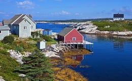 Mañana en la ensenada de Peggys, Nova Scotia imagen de archivo