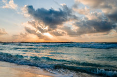 Mañana en la playa de Cancun Fotografía de archivo libre de regalías