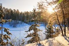 Mañana escarchada del invierno en la costa del río siberiano Fotos de archivo