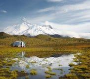 Mañana escarchada en el volcán imágenes de archivo libres de regalías