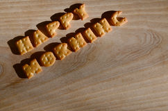 Mañana feliz Letras comestibles Fotografía de archivo libre de regalías