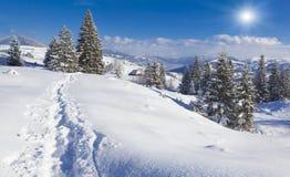 Mañana Nevado en el pueblo de montaña Fotos de archivo libres de regalías