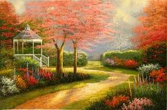 Mañana original de la pintura al óleo Fotos de archivo
