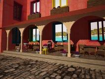 Mañana soleada en café cerca del mar Imagenes de archivo