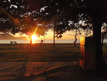 Mañana soleada en la orilla de mar Fotos de archivo libres de regalías