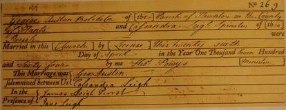Małżeństwa świadectwo Jane Austen rodzice Zdjęcia Royalty Free