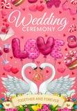 Małżeństwo ceremonia, ślubni symbole i łabędzi ptaki, ilustracji