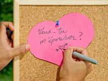 Małżeństwo propozycja ręcznie pisany Fotografia Stock