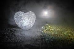 Małżeństwo propozycja z złocistymi obrączkami ślubnymi i sercem pojęcia serce nad czerwieni różanym valentine biel Zmroku stonowa Fotografia Royalty Free