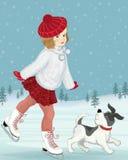 Mała łyżwiarka Zdjęcia Royalty Free