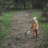 Mała śliczna chłopiec bawić się z jego psem w jesień parku Zdjęcie Royalty Free