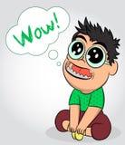 Mała śliczna chłopiec czekać na prezent z szkłami Zdziwiony dziecko otwierał jego usta Facet z no! no! emocją Projekt dla druku,  royalty ilustracja