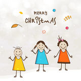Mała śliczna dzieciak kreskówka na Wesoło bożych narodzeń świętowania plakacie Fotografia Stock