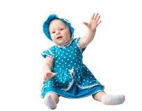 Mała śliczna dziecko dziewczyna odizolowywająca na białym tle. Używa mnie dla dziecka, wychowywający pojęcie Fotografia Royalty Free