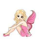 Mała kreskówki czarodziejka w menchii sukni Obrazy Stock