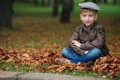 Mała śmieszna chłopiec w jesień liści portrecie Zdjęcia Stock