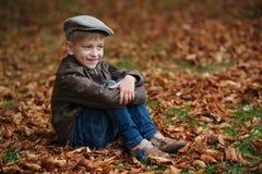 Mała śmieszna chłopiec w jesień liści portrecie Zdjęcie Stock