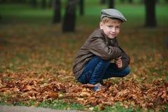 Mała śmieszna chłopiec w jesień liści portrecie Obrazy Stock