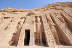 Mała świątynia Nefertari abu simbel Egiptu Obrazy Royalty Free