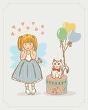 Mała anioł dziewczyna i kiciunia kot Wektor Odizolowywający na tle Obrazy Royalty Free