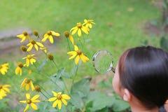 Mała Azjatycka dziecko dziewczyna z powiększać - szkło na zielonej trawy ogródzie W górę natury jako badacz obraz royalty free