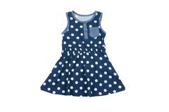 Mała błękitna polki kropki suknia dla dziewczyn, odizolowywająca na bielu fotografia stock