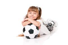 mała balowej dziewczyny piłka nożna Zdjęcia Royalty Free