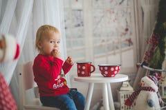 Mała berbeć chłopiec pije herbaty i je ciastka z mokietem, bawi się na śnieżnym dniu zdjęcie stock