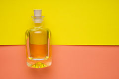 Mała butelka ziarno olej na żółtym mieszkaniu zdjęcia royalty free