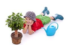 mała chłopiec ogrodniczka Obrazy Royalty Free