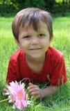 mała chłopiec trawa Zdjęcia Stock