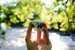 Mała chińska porcelany filiżanka przed wodą i zielenią opuszcza b Obraz Stock